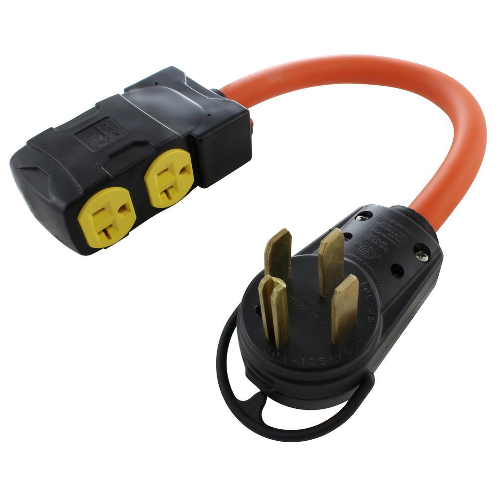 AC WORKS 1.5 ft. Adapter NEMA 14-50P RV/Range/Generator Plug to (4) on