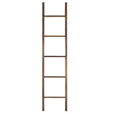 19 in. W x 1.75 in. D Natural Decorative Ladder with Solid Walnut