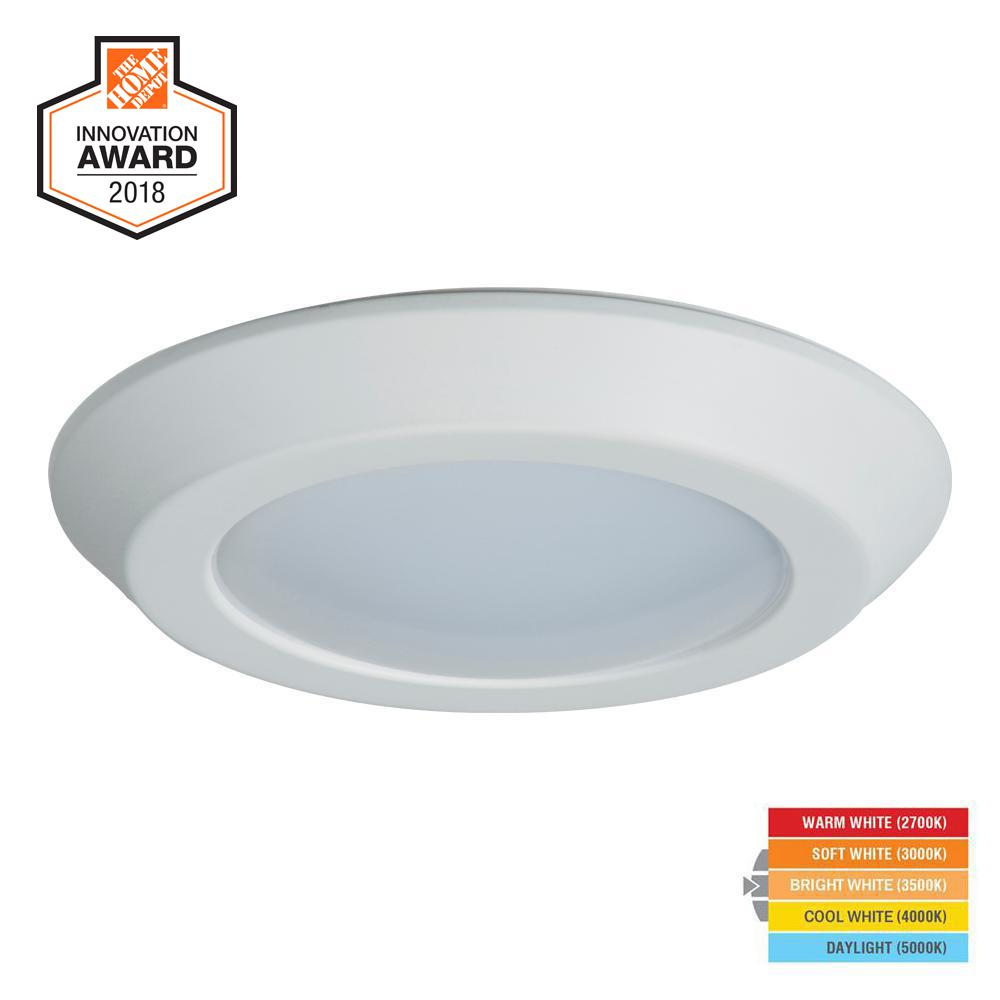BLD 6 in. White Integrated LED Recessed Ceiling Mount Light Trim
