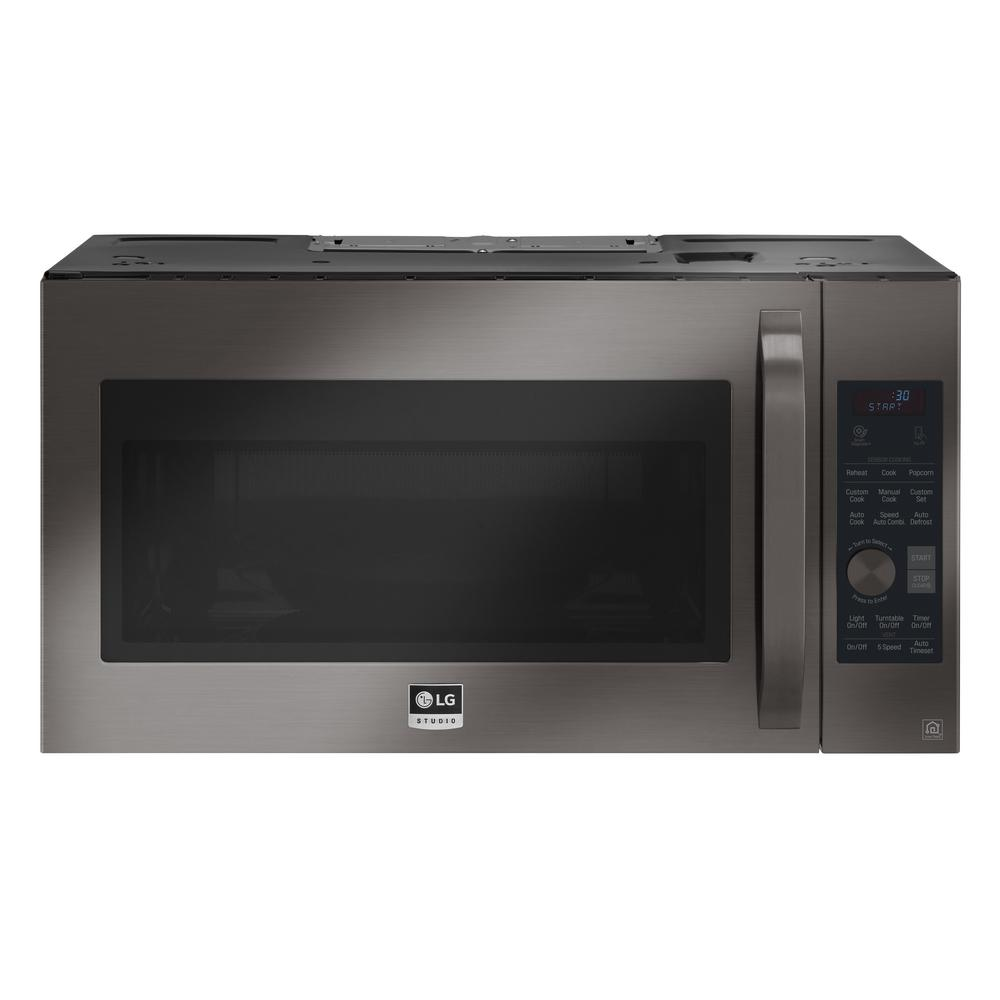 Lg Studio 1 7 Cu Ft Over The Range Convection Microwave In Black Stainless Steel