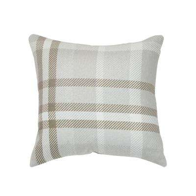 Tartan Charcoal Square Outdoor Accent Throw Pillow