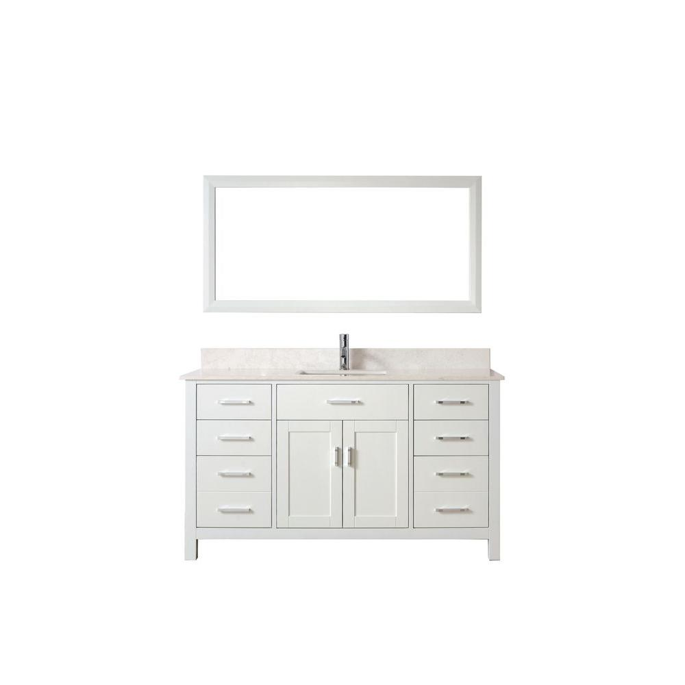 Studio Bathe Kalize 60 in. Vanity in White with Solid Surface Marble Vanity Top in White and Mirror