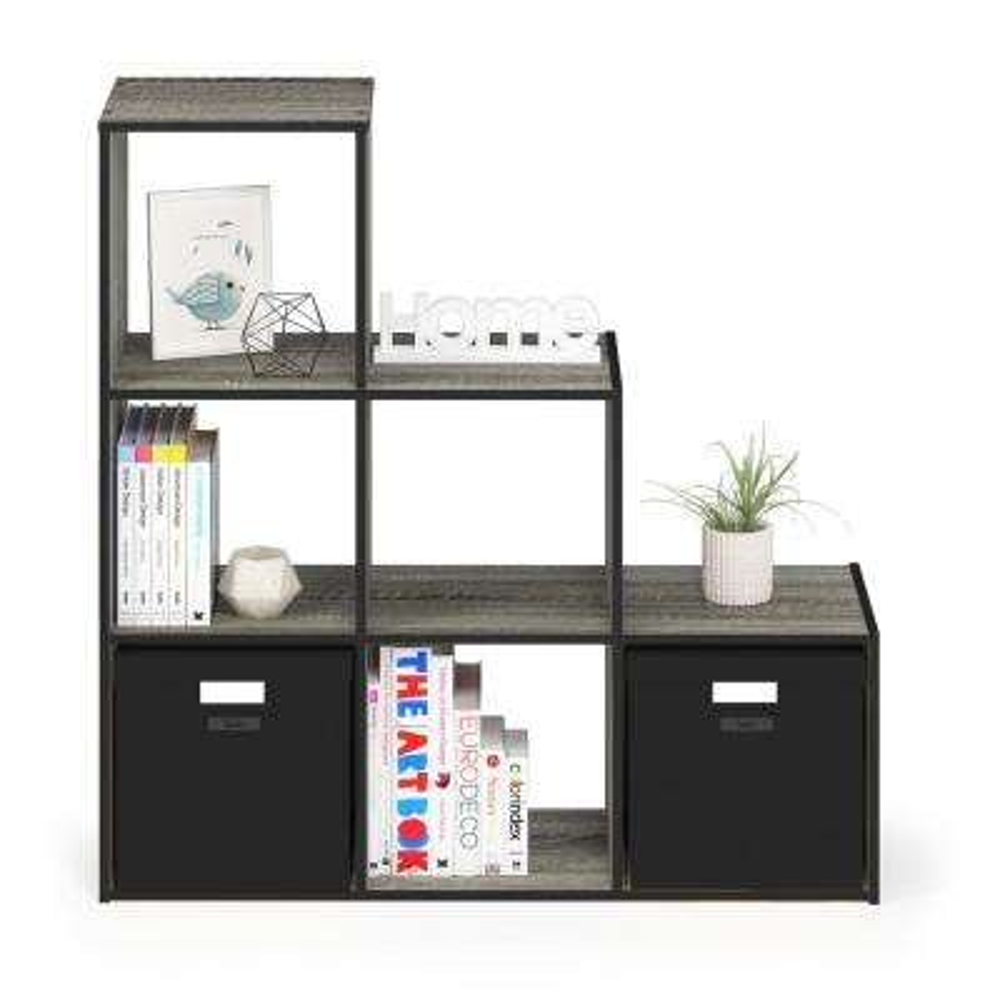 Pelli French Oak Gray Cubic Storage Cabinet, 3-2-1