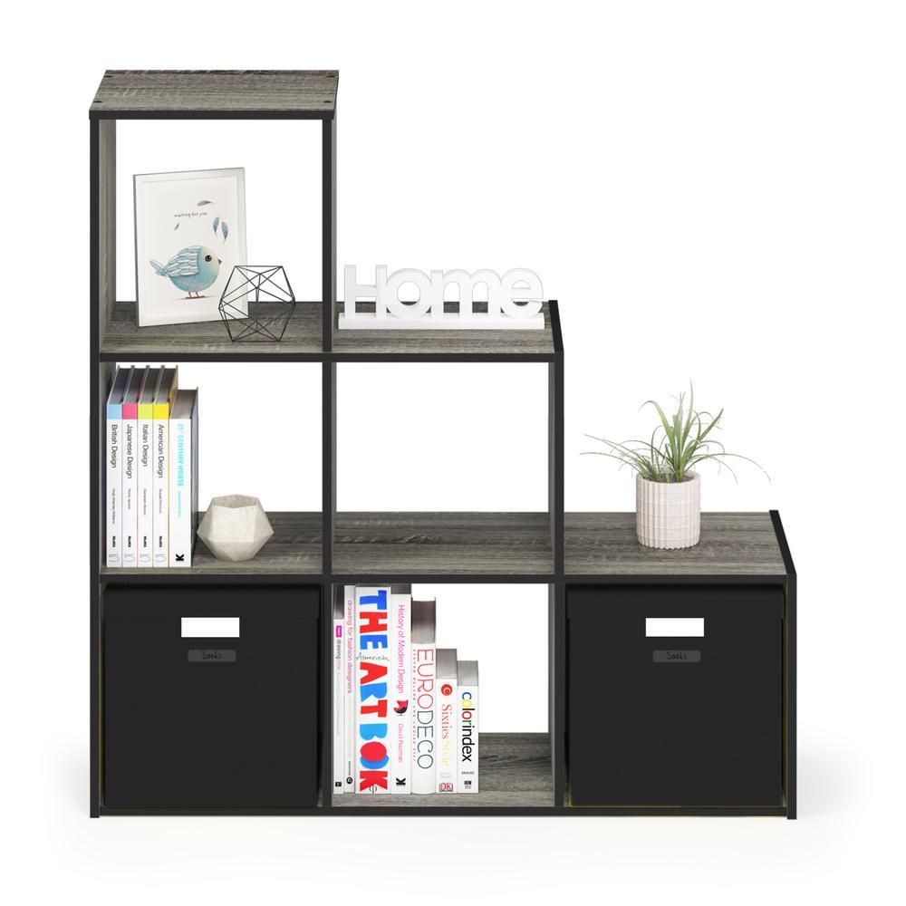 Furinno Pelli French Oak Gray Cubic Storage Cabinet, 3-2-1