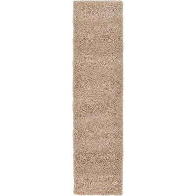 Solid Shag Taupe 10 ft. Runner Rug