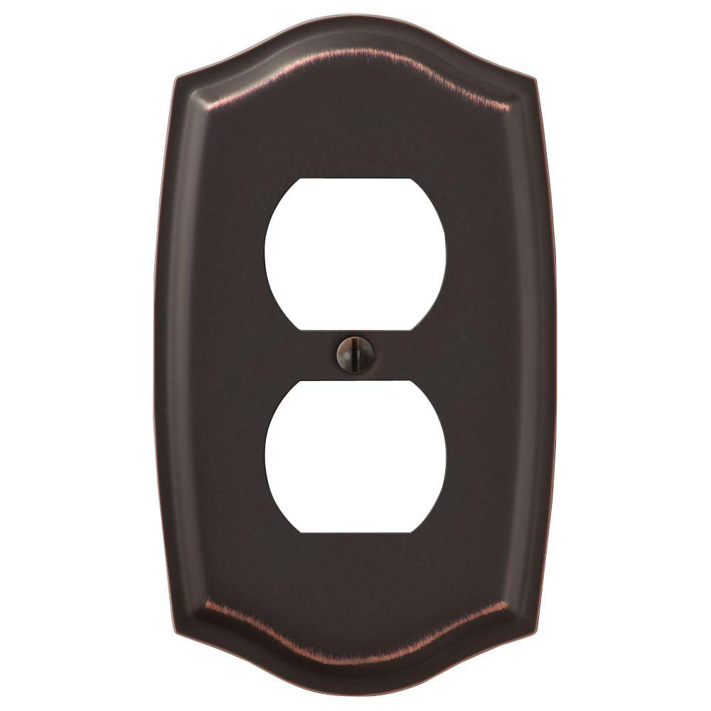 vineyard 1 duplex outlet plate aged bronze steel