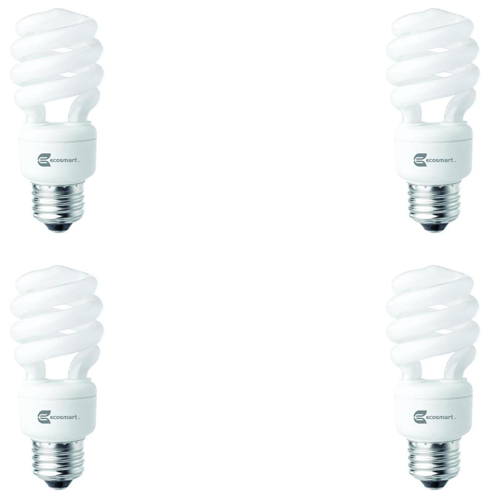 EcoSmart 60 Watt Equivalent Spiral Non Dimmable CFL Light Bulb Soft White (4