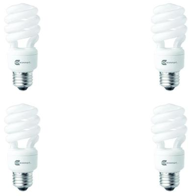 60-Watt Equivalent Spiral Non-Dimmable CFL Light Bulb Soft White (4-Pack)
