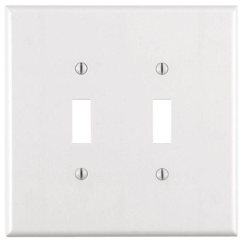 Leviton White 2-Gang Toggle Wall Plate (1-Pack)