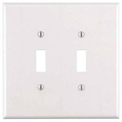 2-Gang Jumbo Toggle Wall Plate, White