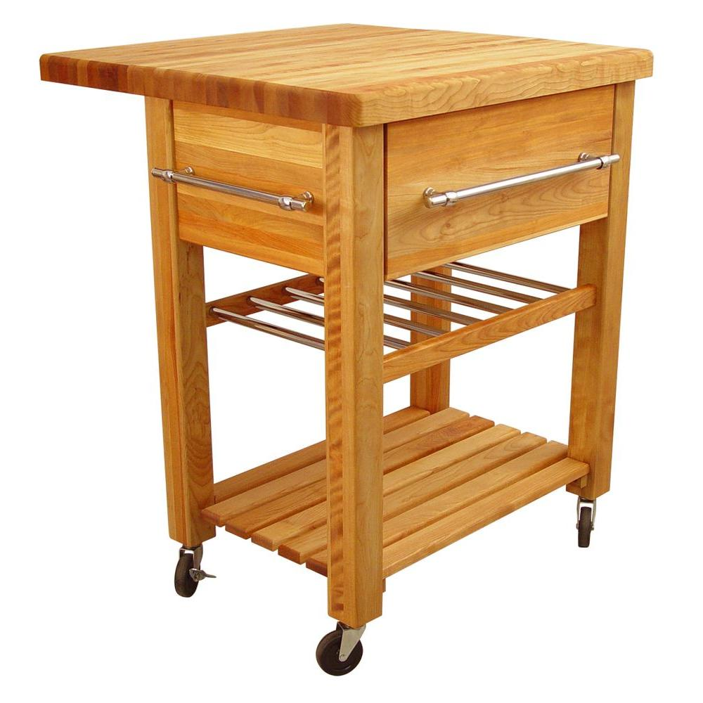 Catskill Craftsmen Baby Grand Natural Kitchen Cart With Drop Leaf And Wine Rack