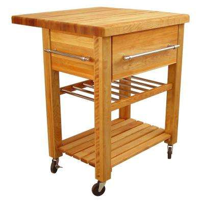 Baby Grand Natural Kitchen Cart with Drop Leaf and Wine Rack
