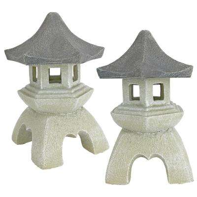 Asian Pagoda Medium Statue Set (2-Piece)