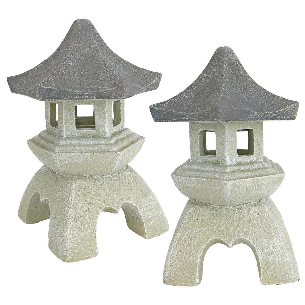 Asian Pagoda Medium Statue Set (2-Piece)