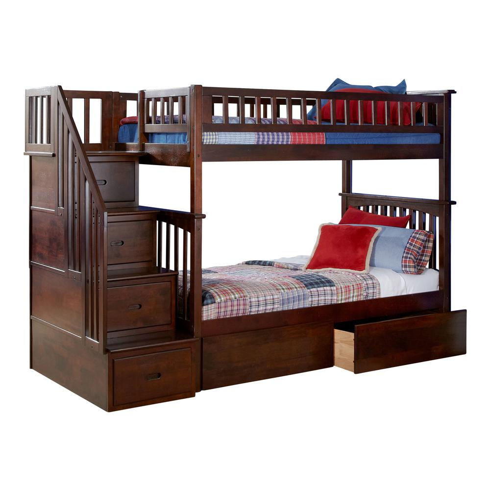 Columbia Staircase Walnut Twin Over Twin Bunk Bed with 2-Urban Bed