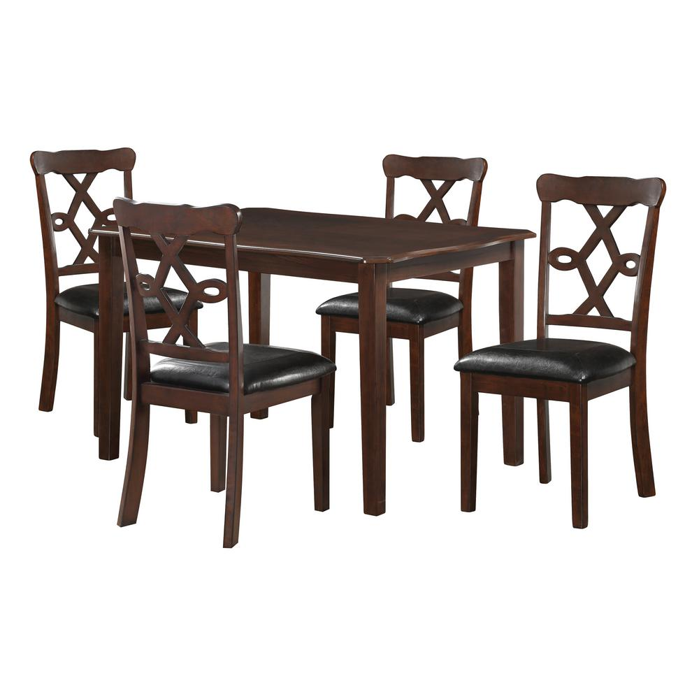 Ingeborg 5-Piece Black Leatherette and Espresso Dining Set