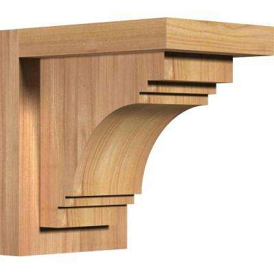 5-1/2 in. x 8 in. x 8 in. Western Red Cedar Pescadero Smooth Corbel with Backplate