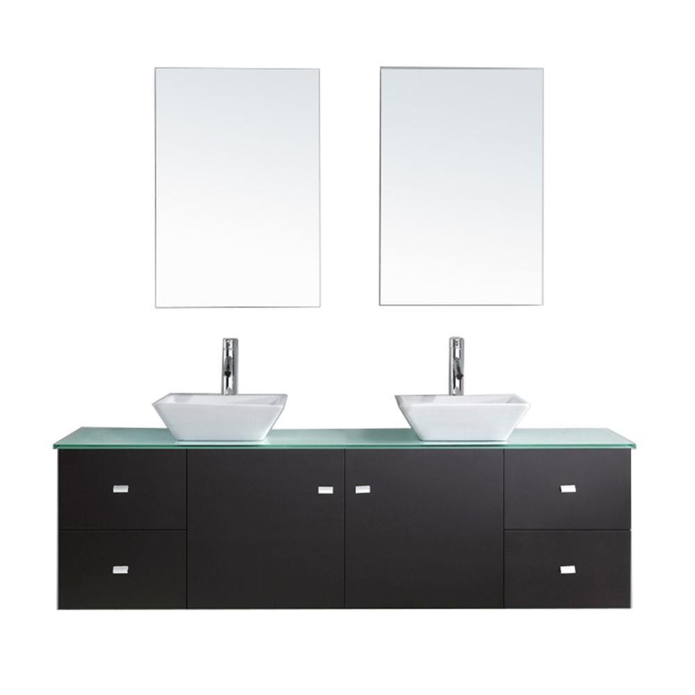 W Bath Vanity in Espresso with Glass Vanity Top in
