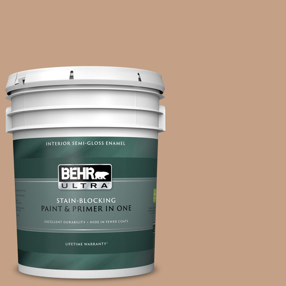 Behr Ultra 5 Gal S240 4 Pacific Bluffs Semi Gloss Enamel Interior Paint And Primer In One 375405 The Home Depot