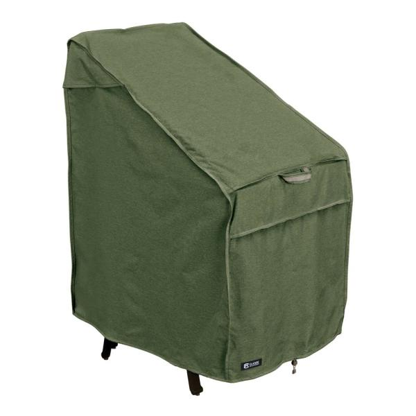 Montlake FadeSafe 25.5 in. L x 33.5 in. W x 45 in. H Heather Fern Heavy-Duty Stackable Patio Chairs Cover