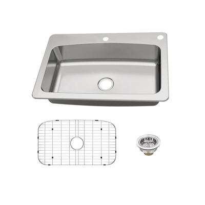 Dual Mount 18-Gauge Stainless Steel 33 in. 2-Hole Single Bowl Kitchen Sink with Grid and Drain Assembly