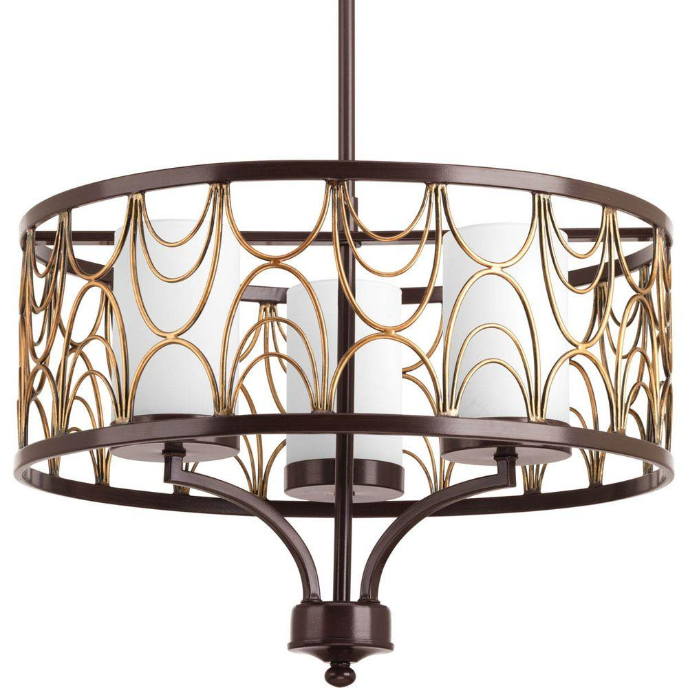 Cirrine Collection 3-Light Antique Bronze Chandelier with Shade with Etched