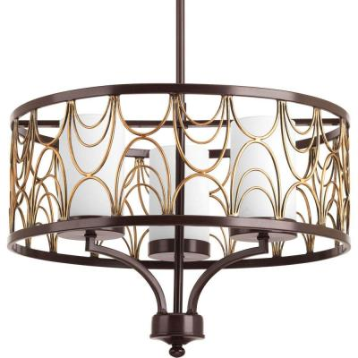 Cirrine Collection 3-Light Antique Bronze Chandelier with Etched White Glass Shade
