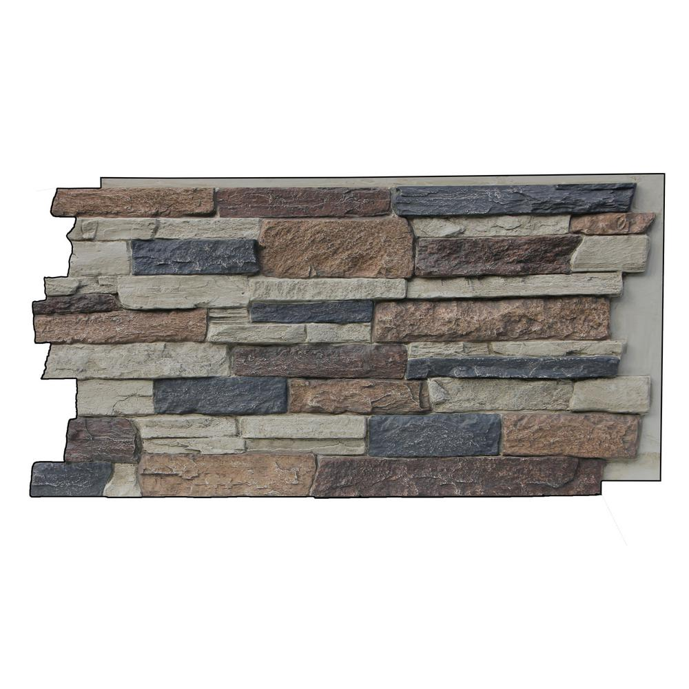 Superior Building Supplies Faux Mountain Ledge Stone 24-3/4 in. x 48-3/4 in. x 1-1/4 in. Panel Rustic Lodge This faux stone sample is made from high-density polyurethane and allows you to create the natural look of real stone at a fraction of the price. Each stone has a unique interlocking system that allows for quick and easy installation, no grout required. The hand finished design is ideal for both indoor and outdoor applications. Color: Rustic Lodge.