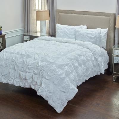 White Solid Rouching Pattern 3-Piece Queen Bed Set