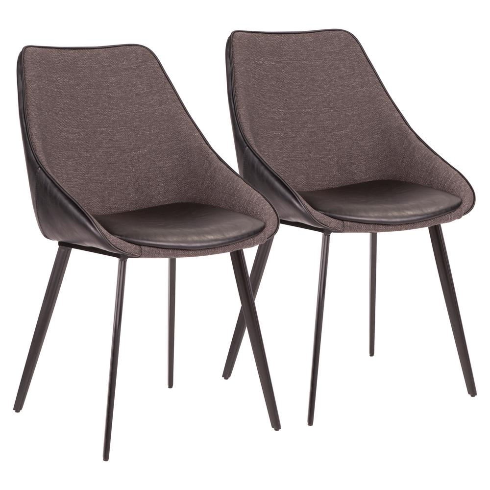 Marche Two-Tone Chair in Black Faux Leather and Grey Fabric (Set