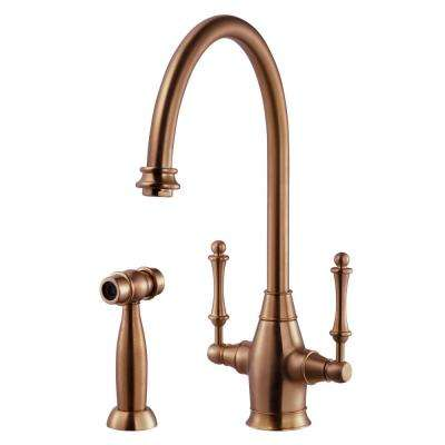 Charleston Traditional 2-Handle Standard Kitchen Faucet with Sidespray and CeraDox Technology in Antique Copper