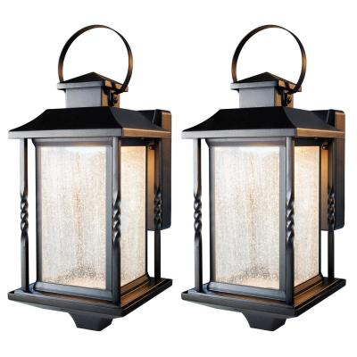 Portable Black Outdoor Integrated LED Wall Lantern Sconce (2-Pack)