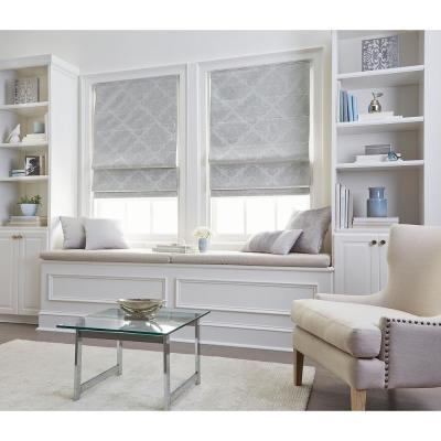 Cut-to-Size Silver Cordless Room Darkening Energy-Efficient Polyester Roman Shades 34 in. W x 64 in. L