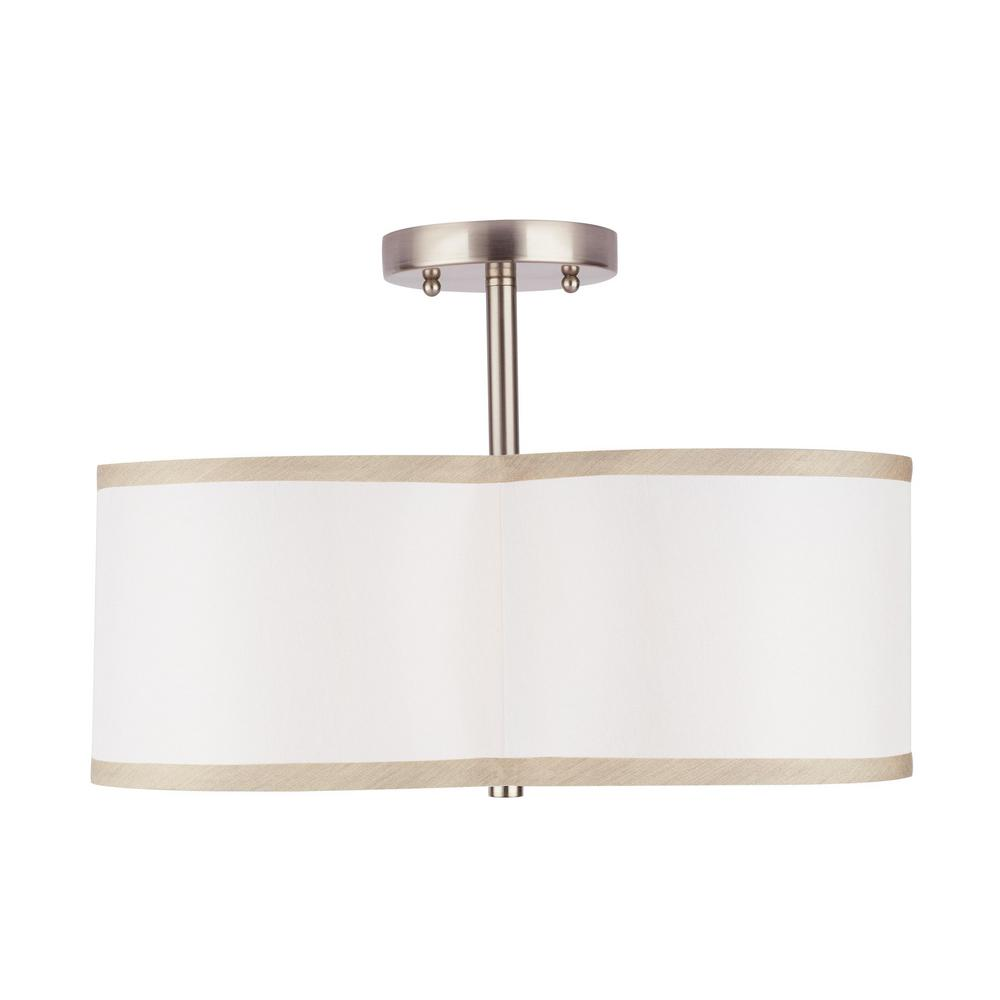 HomeDecoratorsCollection Home Decorators Collection 4-Light Brushed Nickel Semi-Flush Mount Light with Off-White Fabric Clover Shade