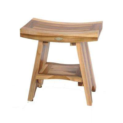 EarthyTeak Serenity 18 in. Eastern Style Shower Stool with Shelf