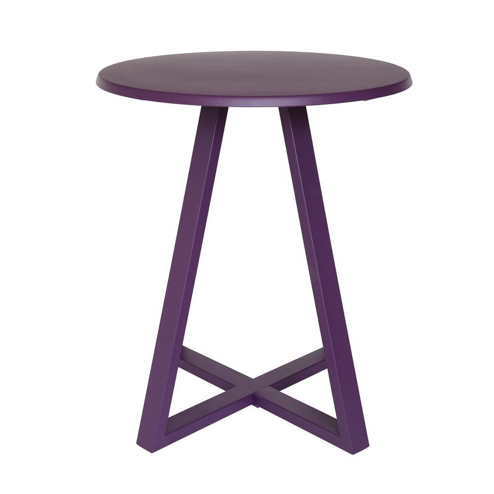 Haiti Matte Purple Round Metal Outdoor Bistro Table