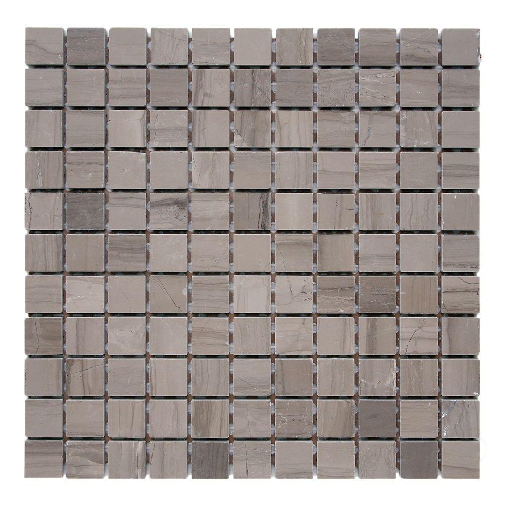 Haisa Marble Dark 12 in. x 12 in. x 6.35 mm Marble Mesh-Mounted Mosaic Tile (10 sq. ft. / case)