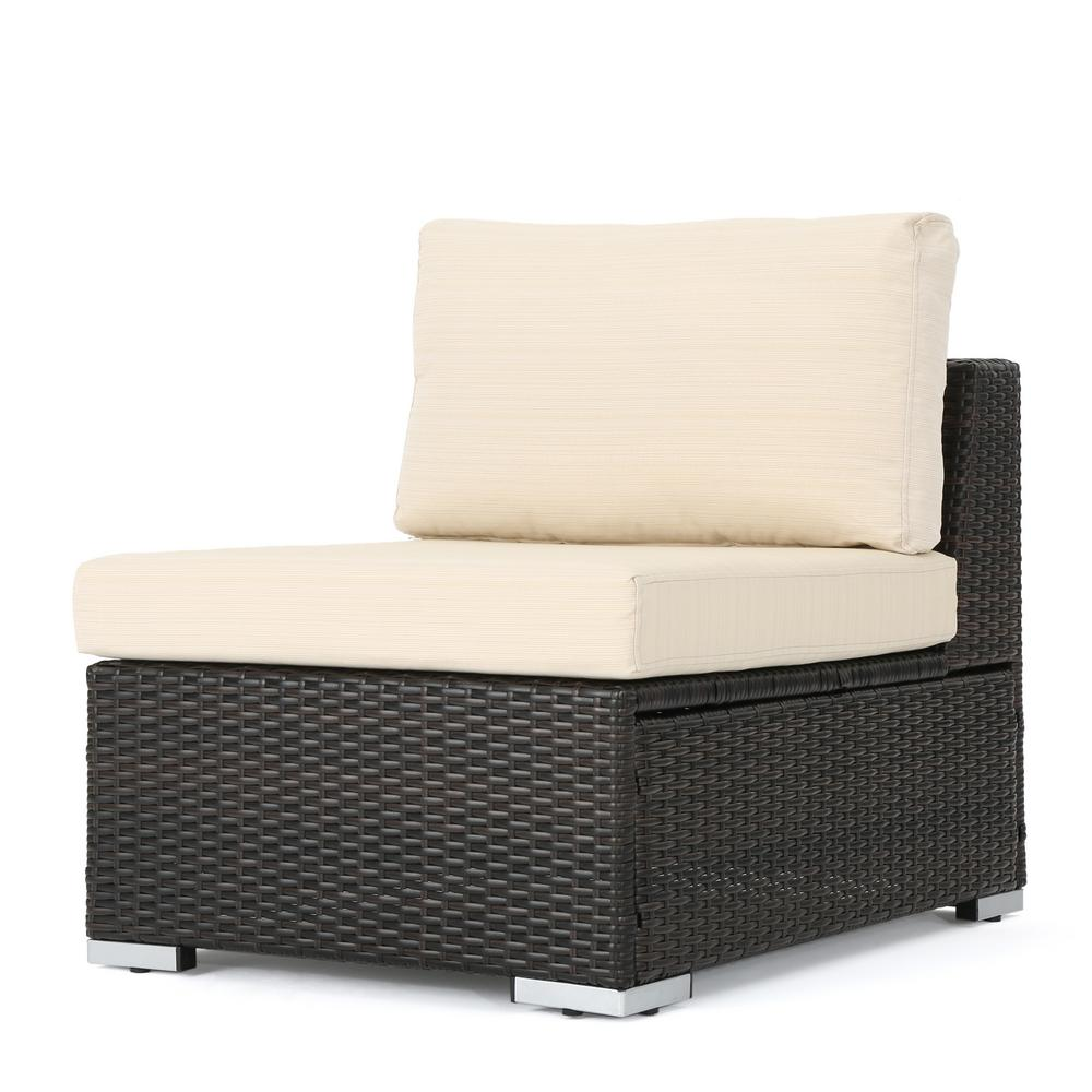 Noble House Nolan Multi Brown Wicker Armless Middle Outdoor Sectional Chair with Beige Cushion