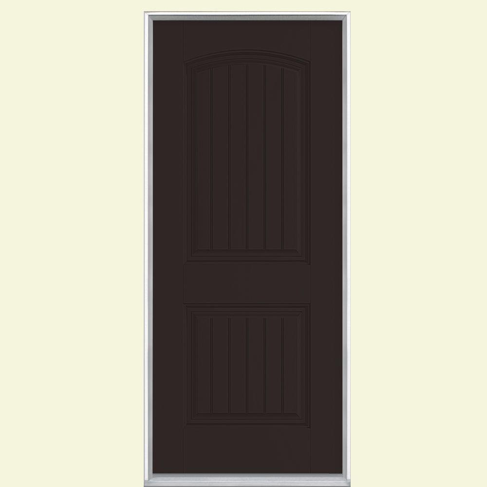 Masonite 36 in. x 80 in. Cheyenne 2-Panel Left Hand Inswing Painted Smooth Fiberglass Prehung Front Door No Brickmold