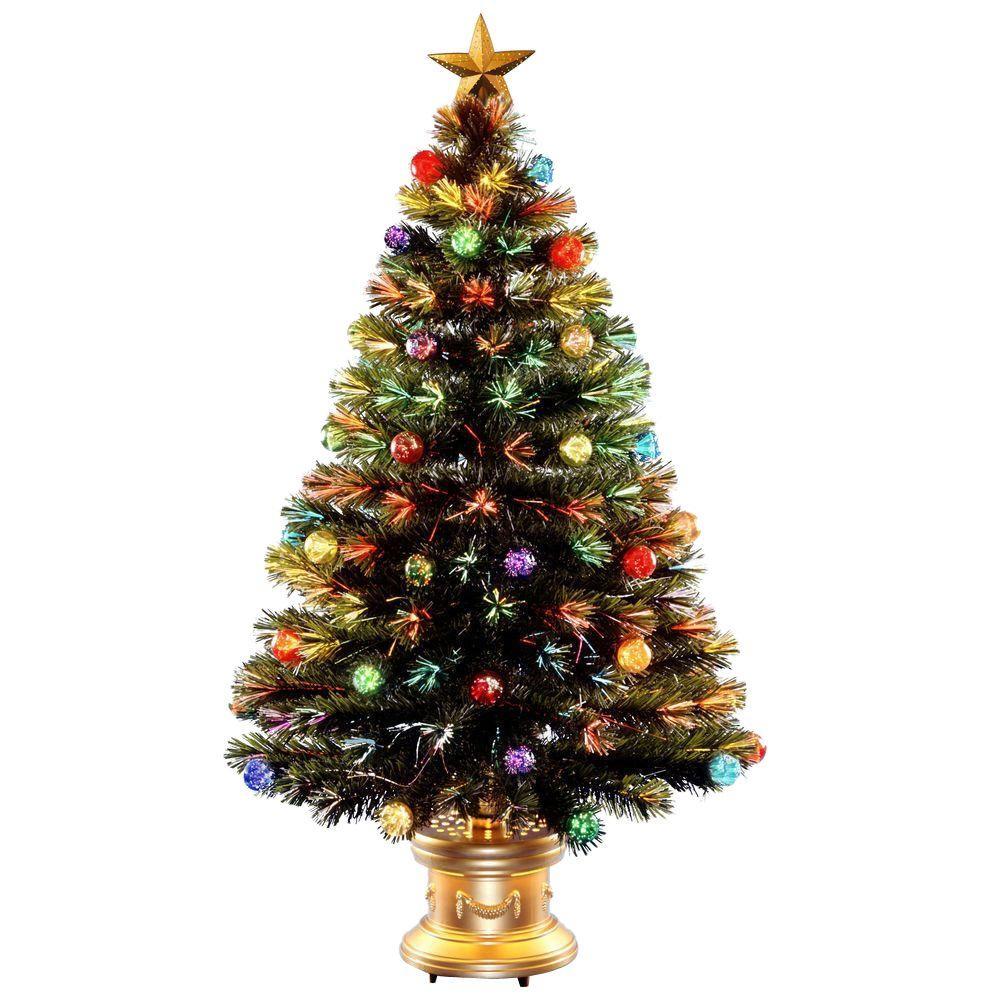 national tree company 4 ft fiber optic fireworks artificial christmas tree with ball ornaments - 4 Christmas Tree