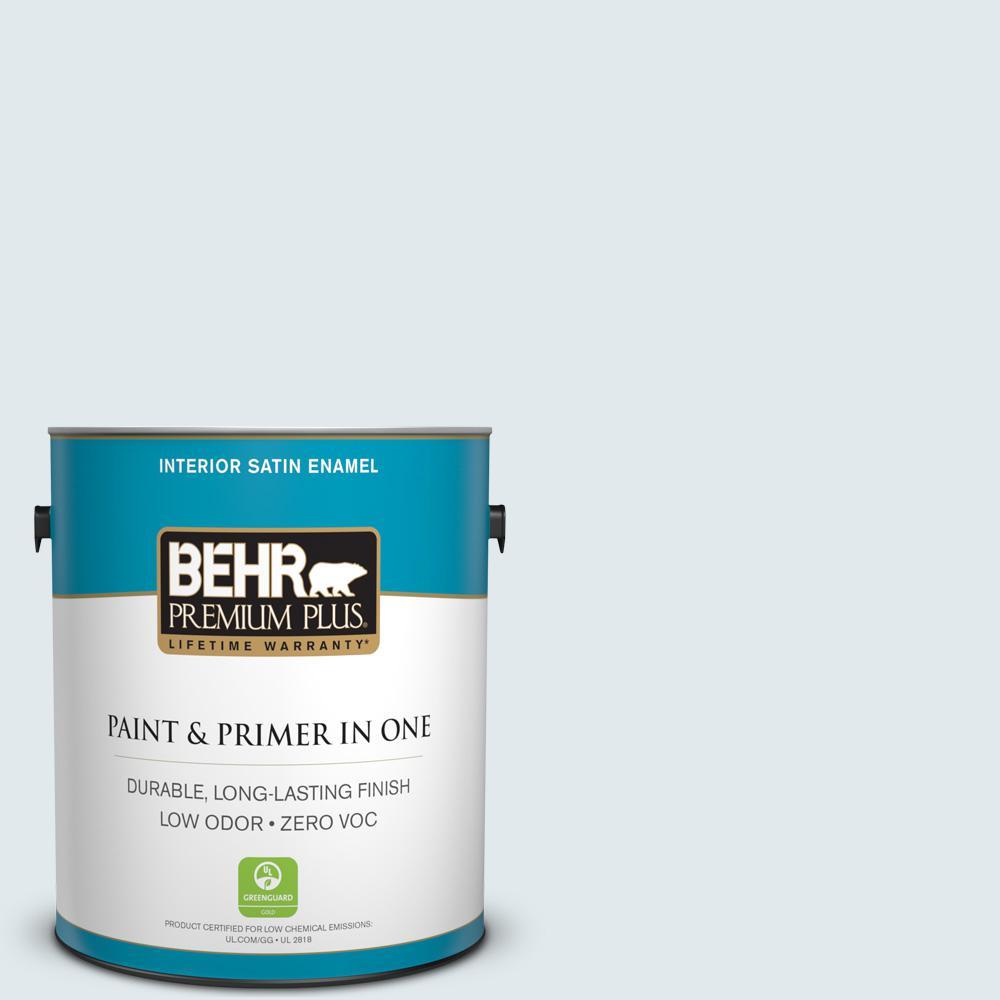 BEHR Premium Plus 1-gal. #570A-1 Ice Floe Zero VOC Satin Enamel Interior Paint