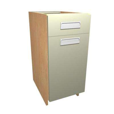 18x34.5x24 in. Genoa Base Cabinet with Single 35 Qt. Waste Bin 1 Soft Close Door and 1 Soft Close Drawer in Almond