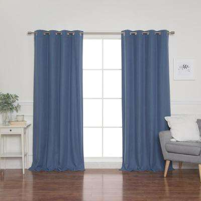 Linen Look 52 in. W x 96 in. L Grommet Curtains in Blue (2-Pack)