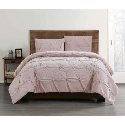 Everyday Pleated Velvet Blush Full/Queen Comforter Set