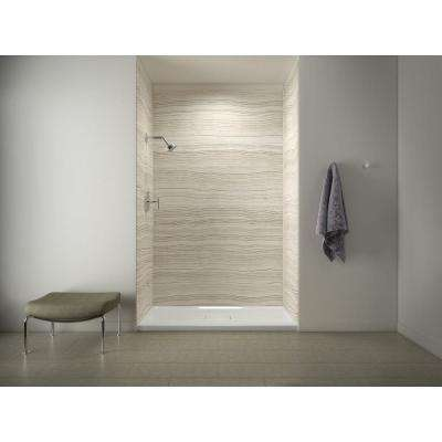 Archer 60 in. x 36 in. Shower Base with Choreograph 96 in. 5-Piece Shower Wall Surround in VeinCut Biscuit