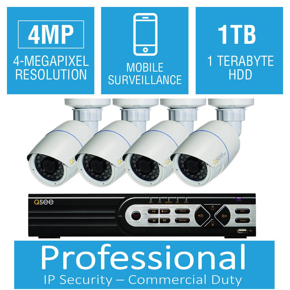 Q-SEE 8-Channel 4MP 1TB Network Video Recorder with (4) 4MP High Definition Bullet Cameras, 100 ft. Night Vision