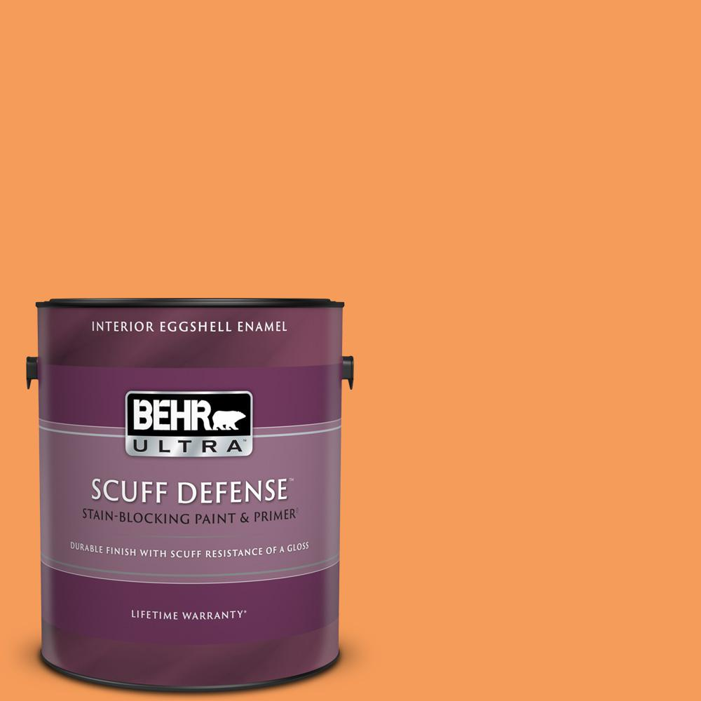 Reviews For Behr Ultra 1 Gal 260b 6 Blaze Orange Extra Durable Eggshell Enamel Interior Paint Primer 275301 The Home Depot