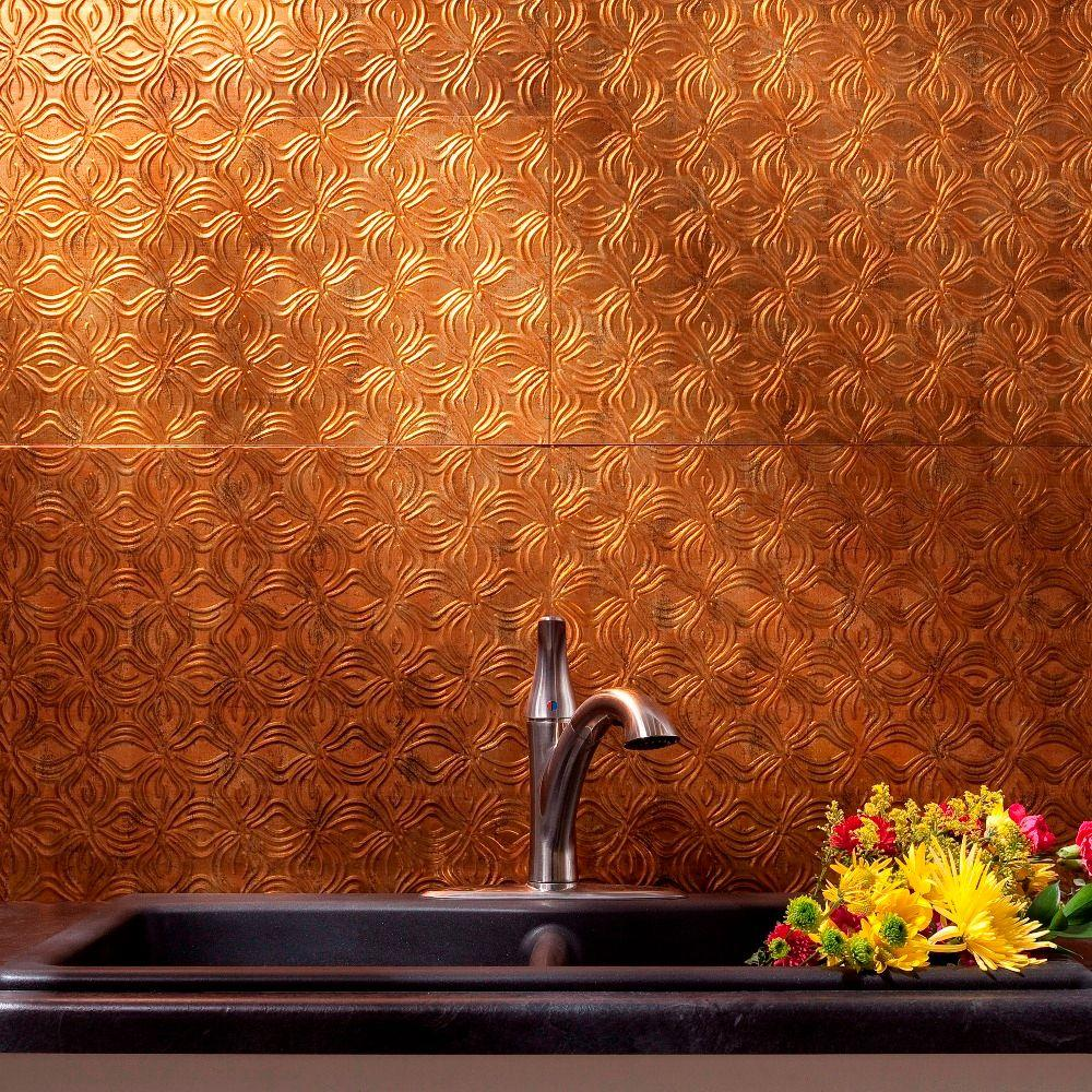 Fasade 24 in. x 18 in. Lotus PVC Decorative Tile Backsplash in Muted Gold