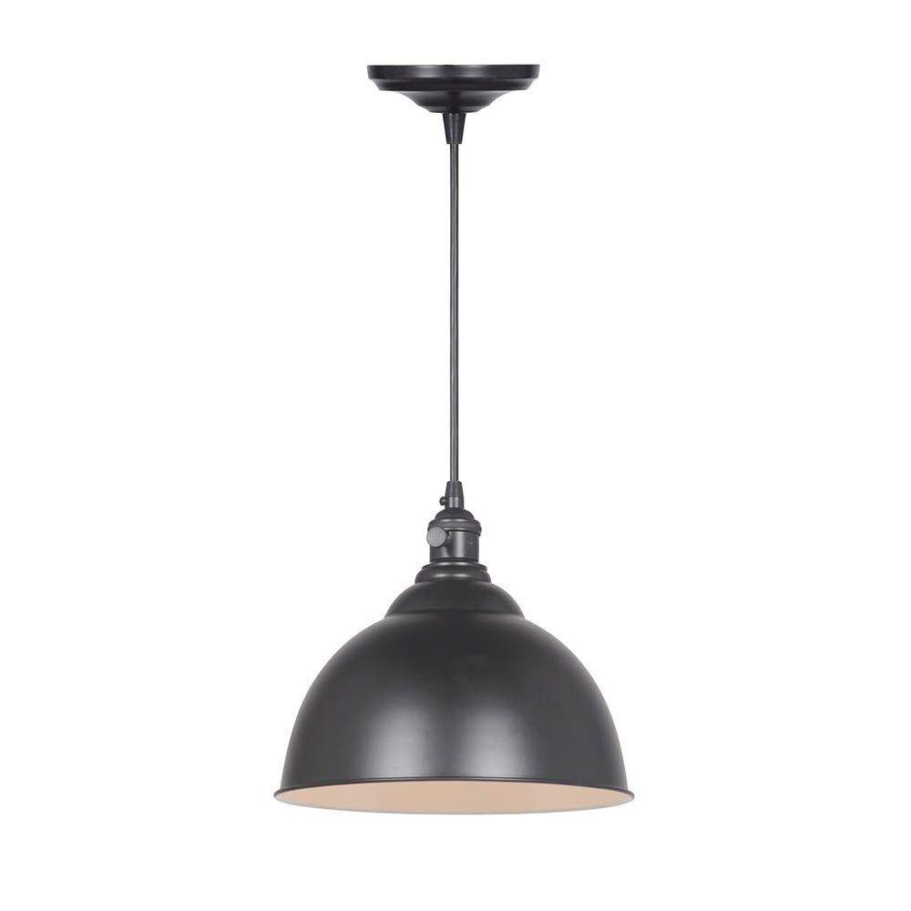 Home Decorators Collection Canady 1-Light Glossy Black Pendant