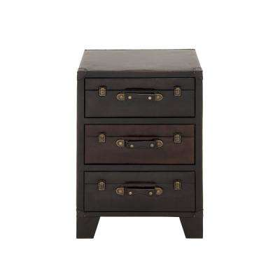 Dark Espresso 3-Drawer Wood and Leather Chest